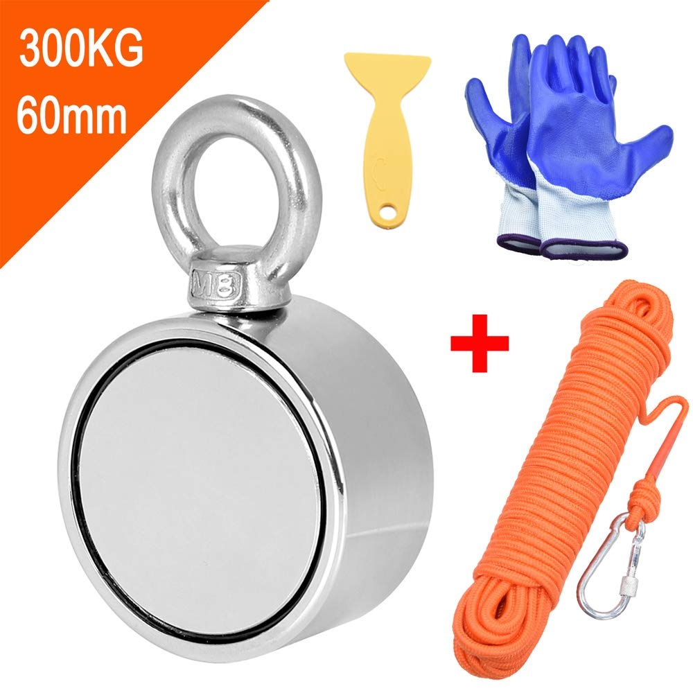 Double Sided Magnet Fishing Magnet with Rope x 65ft(20m), Super Strong Round Neodymium Magnet with Eyebolt, Perfect for Magnetic Fishing and Salvage in The River, Diameter 60mm