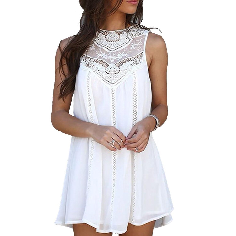 Kidslove Sommerkleid damen elegant damen strandkleid ärmellos Kleid ...