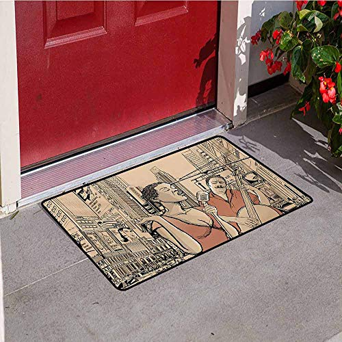 Jazz Music Inlet Outdoor Door mat Jazz Singer with Double-Bass Player in a Street of New York Urban Lifestyle Catch dust Snow and mud W31.5 x L47.2 Inch Brown Beige