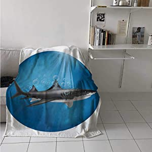 painting-home Breathable Blanket Shark in Sea with Sun Rays in Circle Aquatic Underwater Creature Predator Adventure Lightweight Warm Blankets Perfect for Warmer Climates Blue Grey 50 x 60 Inch