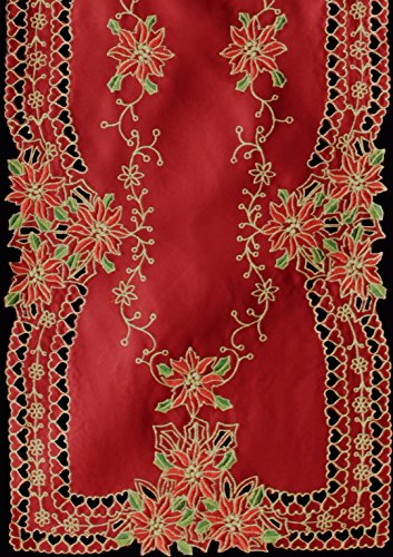 """Creative Linens Holiday Christmas Embroidered Poinsettia Table Runner 15x34"""" Red Gold"""