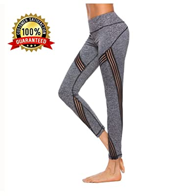 Yoga Leggings,Yoga Pants, High Waisted Black High Waist with Pockets Plus Size Petite Mesh Workout Fold Over Athleta Fitness Ladies Womans Gym Leggings Compression Exercise Pants for Women (Grey, M)