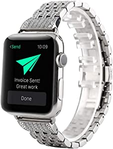 Bling Metal Bands Compatible with Apple Watch Band 42mm 44mm Stainless Steel Crystal Rhinestone Replacement Strap for iWatch Series5 4 3 2 1 Wristbands
