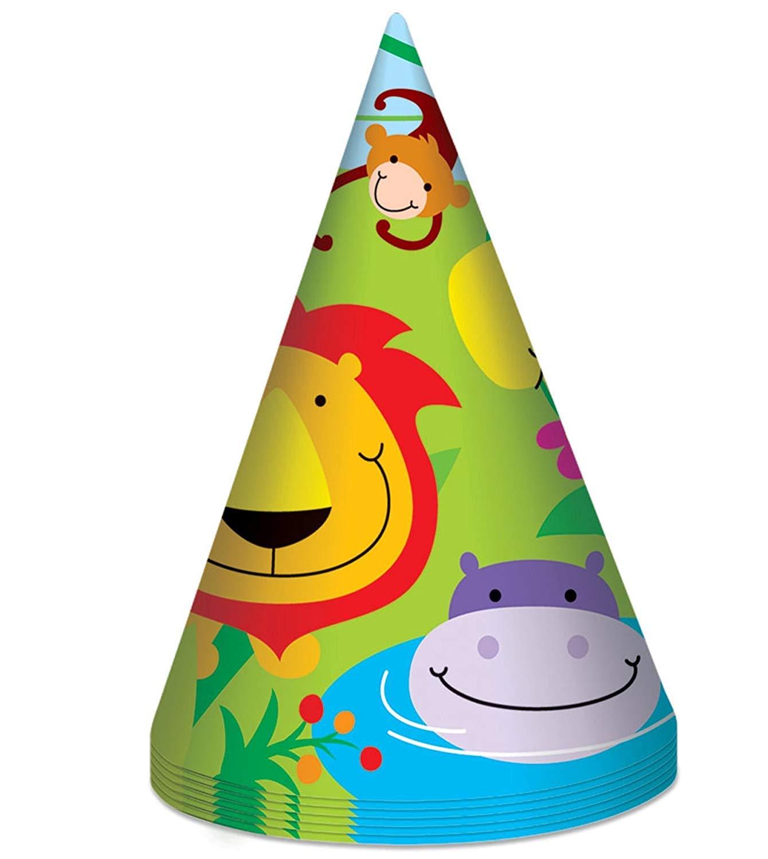 Jungle Theme 8 Party Hats Girls Kids Childrens Birthday Zoo Animal