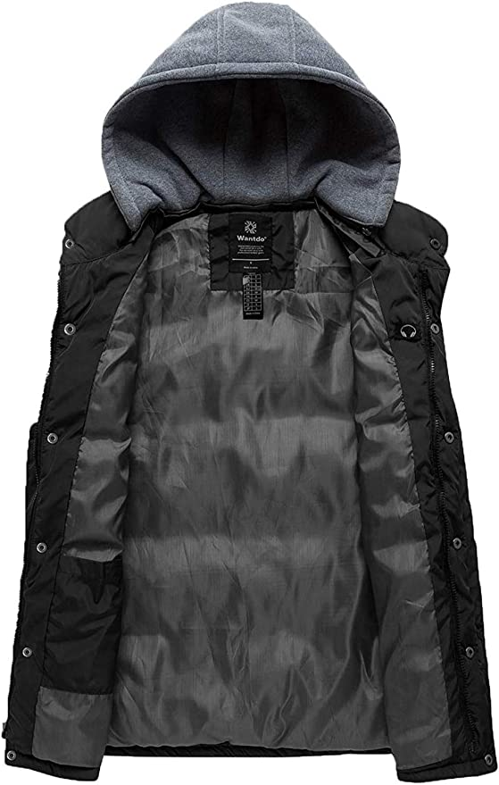 FiMi Mens Puffer Vest Jacket Quilted Pure Color Hooded Sleeveless Zip Up Warm Winter Outwear Jacket Gilet