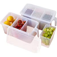 Samplus Mall Pack of Refrigerator Organizer Container Square Handle Food Storage Organizer Boxes - Clear with Lid, Handle and 3 Smaller Bins