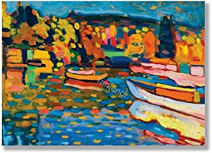 Tamengi Autumn Landscape with Boats by Wassily Kandinsky Art Print On Canvas 50x70cm, Canvas Wall Art Prints Unframed Posters for Living Room Bedroom Home Office Decor