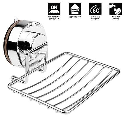 Annstory Jabonera de Pared con Ventosa jaboneras de baño Acero inoxidable Cromado para ducha en cocina Estantería Baño