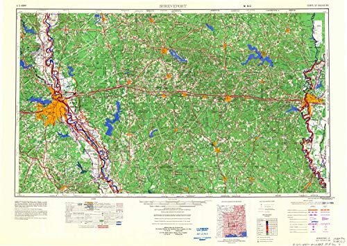 - YellowMaps Shreveport LA topo map, 1:250000 Scale, 1 X 2 Degree, Historical, 1984, Updated 1984, 23.9 x 33.6 in - Polypropylene