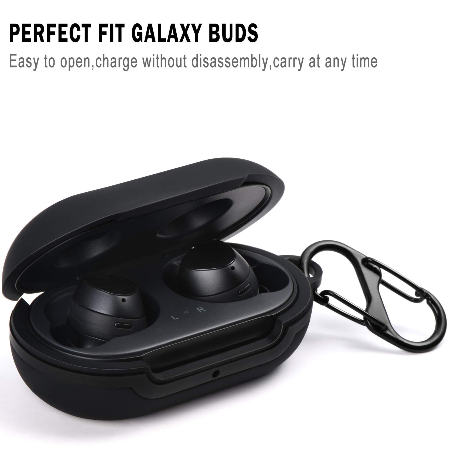 Acestar Silicone Case Cover Compatible with Galaxy Buds(2019)/Galaxy Buds Plus(2022), Full Body Protection, Scratch/Shock Resistant Silicone Case for Samsung Galaxy Buds and Galaxy Buds Plus (Black)