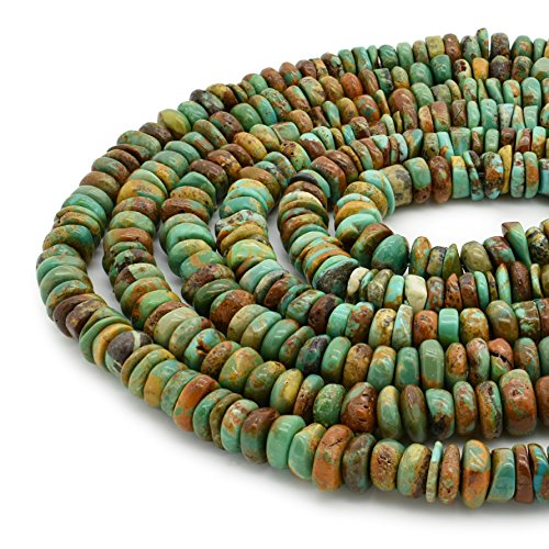 - Bluejoy Genuine Natural American Turquoise 7.5mm Free-Form Disc Bead 16 inch Strand for Jewelry Making
