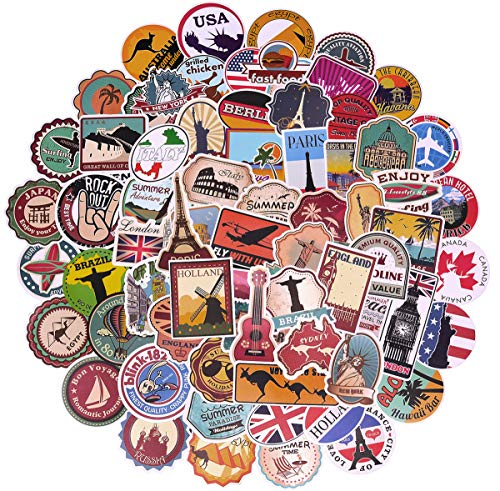 100 Pcs World Famous Tourism Country & Regions Logo Waterproof Stickers - Travel Map National Flag, for Luggage, Skateboard, Laptop, Suitcase, Book Covers, Motorcycle, Bicycle Decal (Stickers - ()