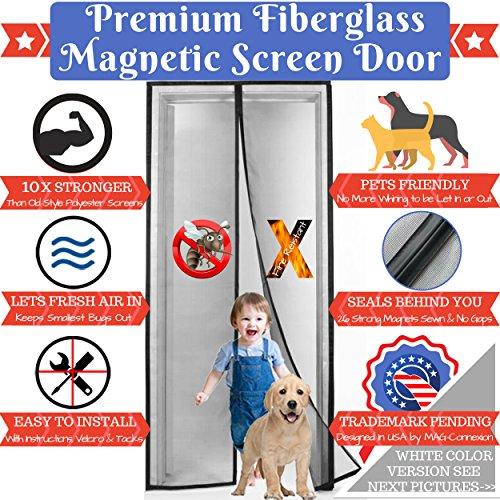 Premium White Magnetic Screen Door with Grey Fireproof Fiberglass Mesh | Screen Size 36
