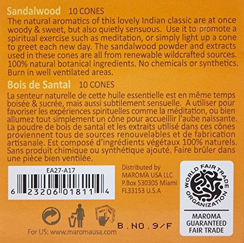 Maroma Eda Cone Incense, Sandalwood, 10 Count