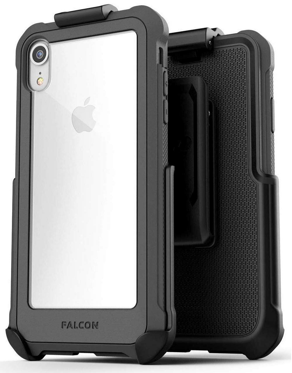 Encased iPhone XR Belt Clip Clear Case with Holster, Protective Rugged Transparent Cover with Belt Holder (Falcon Series) Scratch Resistant Hard Back Bumper for Apple iPhone XR Phone (Grey) FC71GY-HL