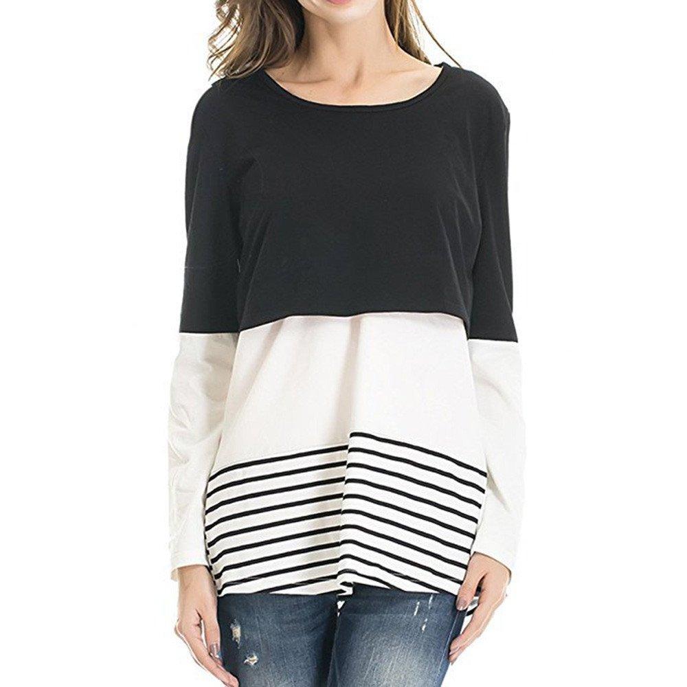 VICGREY ❤ Donna Maglietta per L'Allattamento Felpa Premaman Maglieria per maternità Casual Top T Shirt Manica Lunga Top Camicetta Autunno Inverno