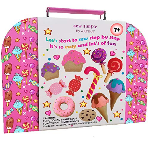 Sewing KIT for Kids, Yum-Yummy Kids Sewing kit, The Most Wide-Ranging Children Sewing Kit, DIY Craft for Kids,Over 110 Sewing Supplies, Booklet of Cutting Stencil Shapes for The First Step in Sewing.