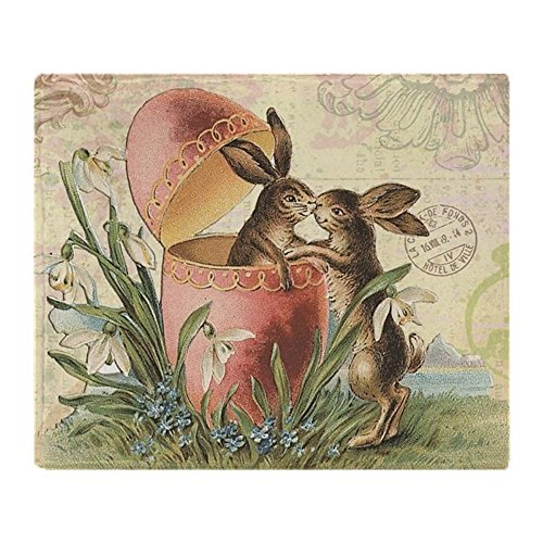 CafePress - Vintage French Easter Bunnies In Egg - Soft Fleece Throw Blanket, 50