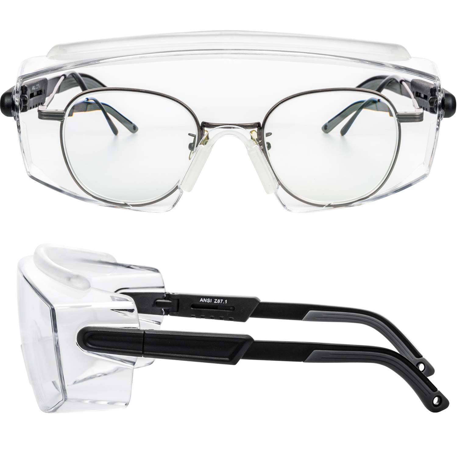 PAERDE Safety Glasses over Eyeglasses ,Anti Fog Safety Glasses Protective Goggles with Clear Scratch Resistant Wrap-Around Lenses and No-Slip Grips, UV Protection. Adjustable