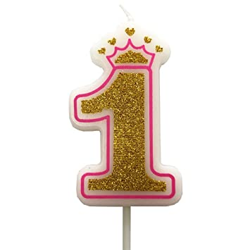 Amazon.com: PartyMart - Vela (número 1), color rosa: Home ...