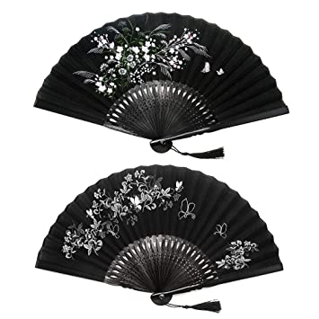 Blue Strong Fabric Hand Held Bamboo and Wooden Fan Wedding Party Prom Gift