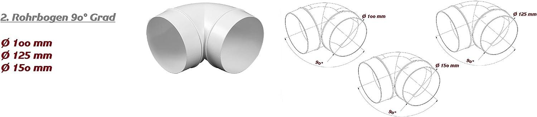 MKK Reduzierverbinder Reduzierst/ück /Ø 100-125 mm Reduktion Rohr Kanal /Übergang L/üftung