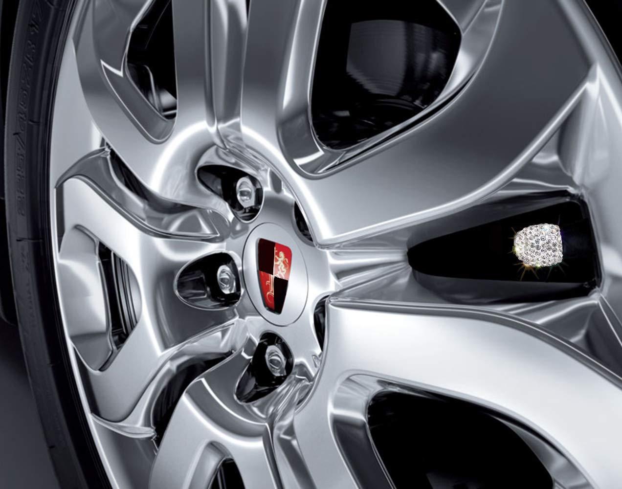 4 Pack Handmade Rhinestone Tire Valve Caps Crystal Universal Tire Caps for Car Wheels Pink QBeel Valve Stem Caps