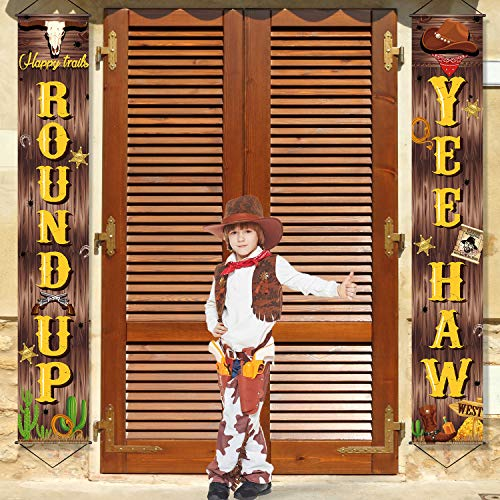 West Cowboy Yee Haw Garland Party Decoration Set Cowboy Porch Sign Welcome Cowboy Banner Hanging Decoration for Indoor/Outdoor Western Cowboy Decoration Party Decorations (Deep Brown)]()