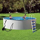 Blue Wave Presto Metal Wall Swimming Pool Package, 24-Feet Round and 52-Inch Deep