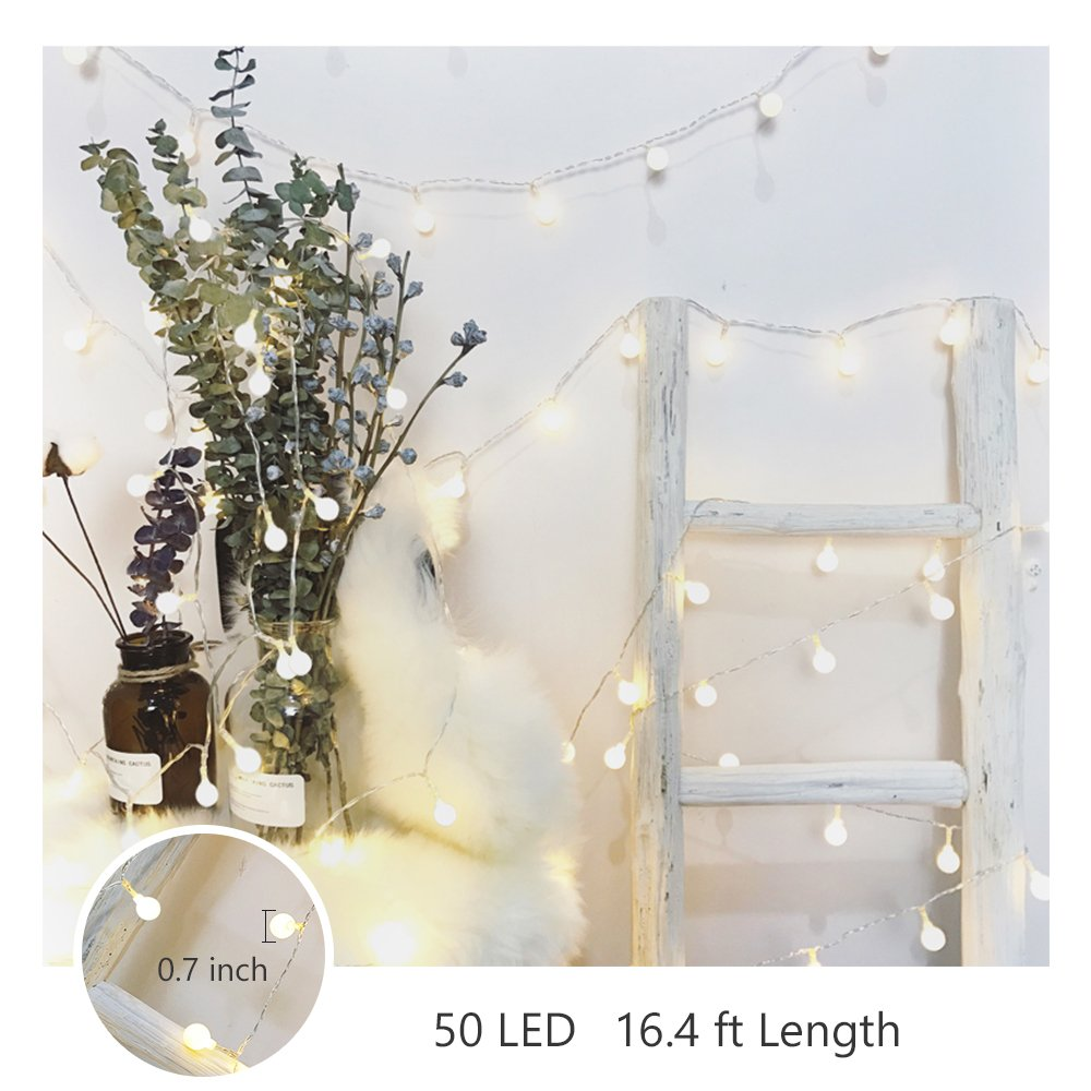 Battery Operated Outdoor String Lights Globe: LED Christmas Lights Indoor 16ft 50 White Globe Battery