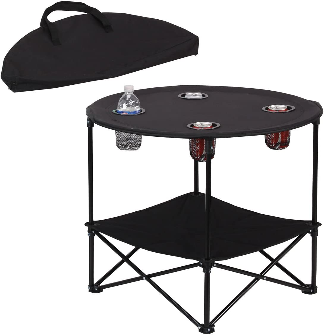 Amazon Com Preferred Nation Folding Table Polyester With Metal Frame 4 Mesh Cup Holders Compact Convenient Carry Case Included Black Furniture Decor
