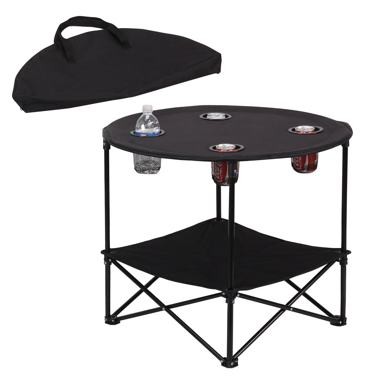Preferred Nation Folding Table, Polyester with Metal Frame, 4 Mesh Cup Holders, Compact, Convenient Carry Case Included – Black