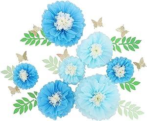 21 Pieces 3D Paper Flowers Giant Paper Flowers for Wedding Backdrop Graduation Party Bridal Shower Wedding Centerpieces Nursery Wall Decor (Blue)