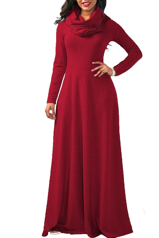 Yacun Women Casual Long Sleeve Cowl Neck Long Maxi Winter Swing Dress CAMCH5416
