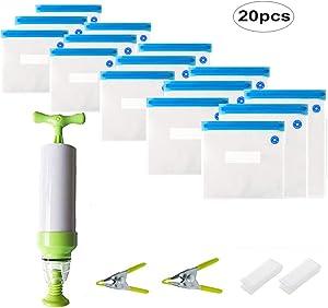 Yaye Vacuum Sealer with Hand Pump,15 Reusable BPA Free Food Vacuum Sealer Bags, 1 Hand Pump and 2 Sealing Clip and 2 Sous Vide Bag Clip,Vacuum System Keep Food Saver Longer