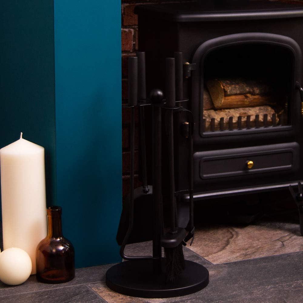 Warwick Companion Set 5 Pièces Noir Style Traditionnel Cheminée Fonte Outils
