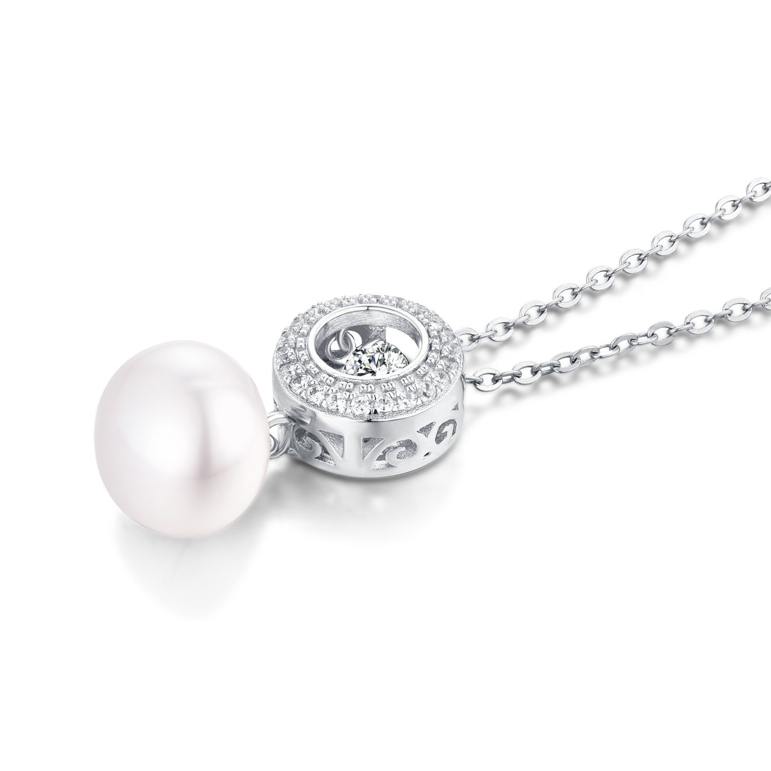 YL Sterling Silver Dancing Diamond CZ 10mm Freshwater Cultured Pearl Filigree Pendant Necklace 18