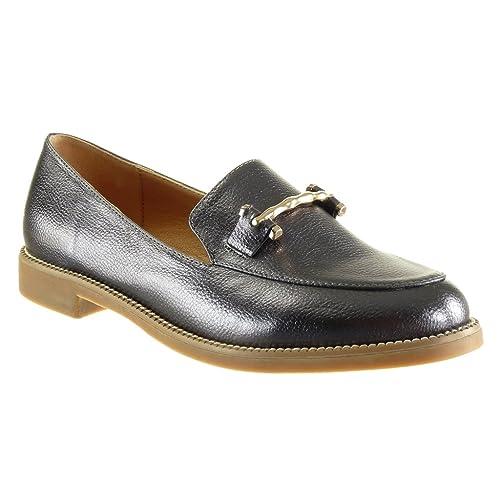 Angkorly - Zapatillas de Moda Mocasines Slip-on Mujer Joyas granulado Patentes Talón Tacón Ancho 2 CM - Plata WH847 T 41: Amazon.es: Zapatos y complementos