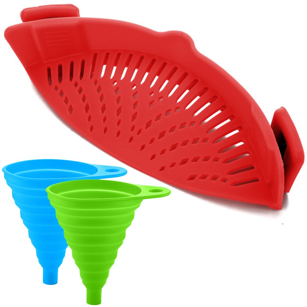 FineGood Silicone Snap Strainer with 2 Collapsible Funnels, Hands-Free Clip-on Heat Resistant Colander Pour Spout for Pasta Vegetable Noodles Pot Bowl Pan - Red