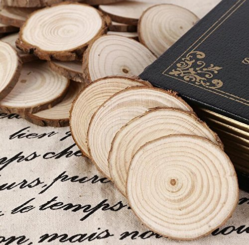 Yingealy Great Fun Gift 25Pcs 5cm Wooden Wood Log Slices Discs Tree Bark Decorative for DIY Crafts Wedding Centerpieces by Yingealy (Image #3)