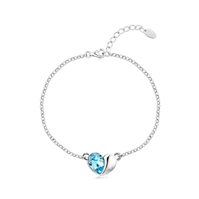 7db93af7396a Epinki Women Girl Bracelet Friendship Bracelet Heart Shape Blue 18CM   Amazon.co.uk  Jewellery