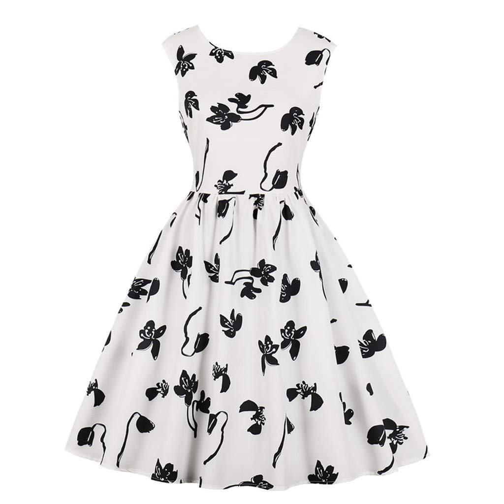 ✿✿ Amlaiworld Damen Blumen drucken Abendkleider Niedlich Trägerlos Hochzeit Dress Elegant Faltenrock Strand Mini Sommerkleid Kleider Ärmellos Party Kleid