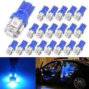 194 T10 W5W 5SMD 5050 Trisense 12v LED Light Bulb Blue 2825 158 192 168 for Car/Motor Interior Dome Parking Side Turn Signal Dashboard License Number Plate Light Bulbs Lamp (pack of 20)