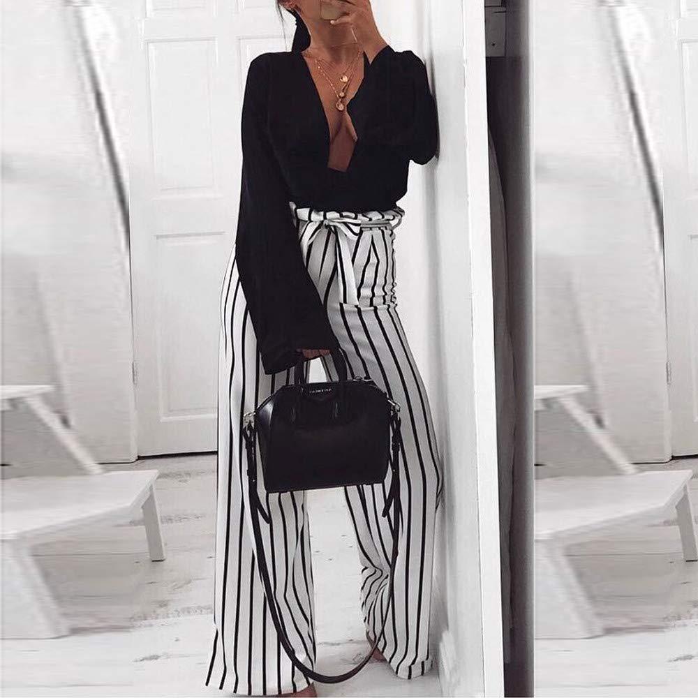 2078c76518 Pantalones de Tirantes Sueltos a Rayas Cenyanga Mujer Pantalones de Pierna  Ancha Estiramiento Cintura Alta  Amazon.es  Ropa y accesorios