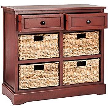 Storage Chest With Drawers And Rattan Baskets Accent Cabinet Wood Organizer  (Red)