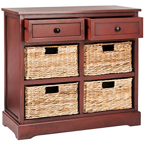 Storage Chest with Drawers and Rattan Baskets Accent Cabinet Wood Organizer (Red) (Rattan Drawers With Baskets)