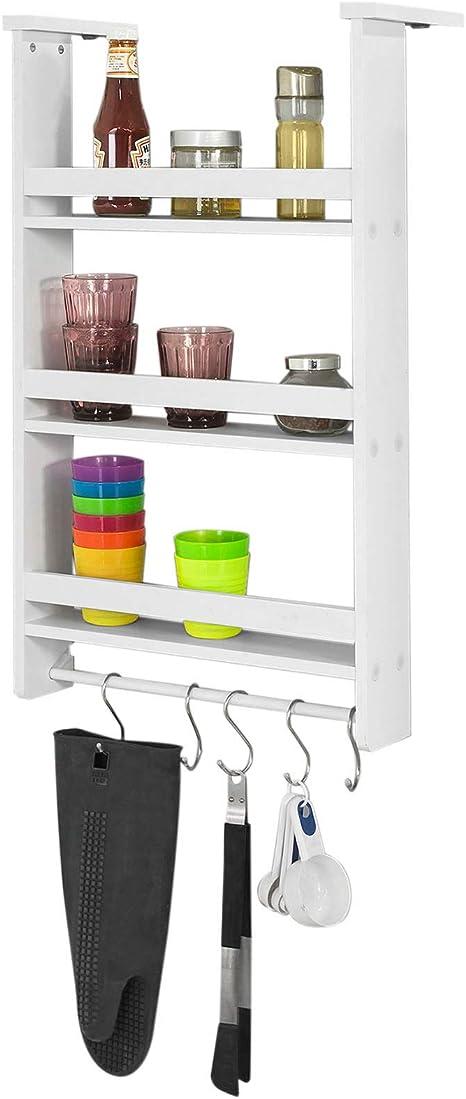 Étagère à 3 FRG150 Blanc suspendre épices bois en W Étagère réfrigérateur pour à ventouses étagères SoBuy® avec 7fbgy6