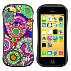"""Pulsar iFace Series Tpu silicona Carcasa Funda Case para Apple iPhone 5C , Modelo colorido del arte del papel pintado psicodélico"""""""