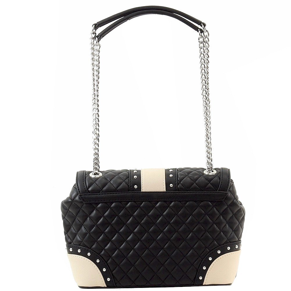 Love Moschino Women's Quilted & Studded Black Leather Flap Over Satchel Handbag by Love Moschino (Image #3)