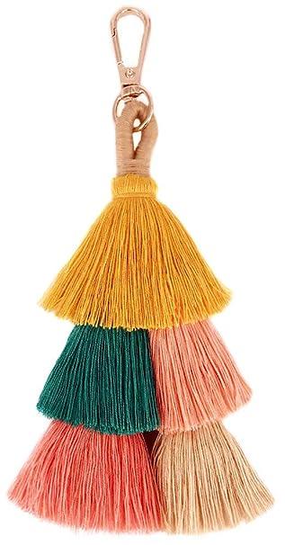 Amazon.com: QTMY Llavero de borla colorida para mujer ...